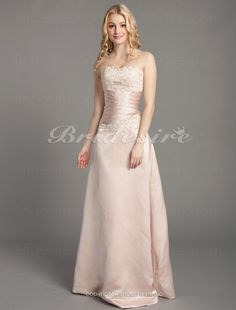 A-line Satin And Lace Floor-length Strapless Wedding Dress - $118.99