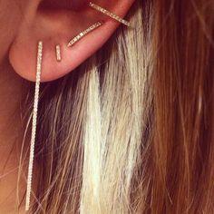 Zoe Chicco triangle ear cuff, Hirotaka ear pin, Liven diamond stick earrings