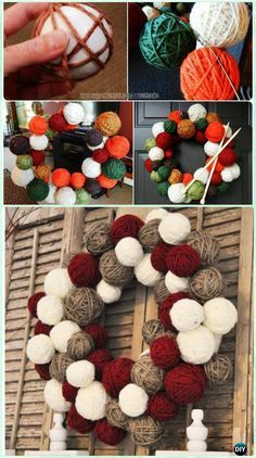 DIY Yarn Ball Wreath Instructions-  #Christmas #Wreath Craft Ideas Holiday Decoration