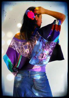 Upcycled Vintage Silk Kimono Top £59 avaialble www.darrylblack.com