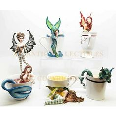 According to fairy legends, whenthe six teacup fairies come together,they bring upon the sugar season. In this season, fairies enjoy the sweetness of every food in fairy land. Dragon Figurines, Fairy Figurines, Amy Brown Fairies, Brown Art, China Patterns, Fairy Dolls, Fairy Land, Tea Cups, Coffee Cups