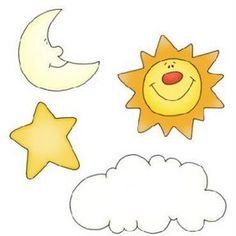 Estrella, sol, luna y nube.