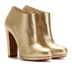 Christian Louboutin Rock And Gold 120 Leather Ankle Boots ($1,095) ❤ liked on Polyvore featuring shoes, boots, ankle booties, heels, zapatos, booties, mekong, short leather boots, platform ankle boots and high heel booties
