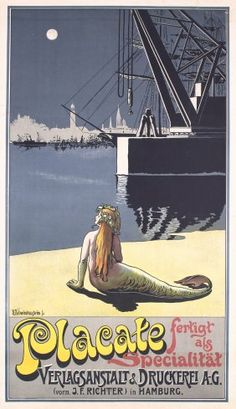 Original 1890s German Art Nouveau mermaid poster from our May 3, 1014 poster auction in San Francisco and live online