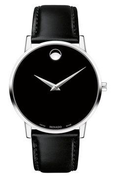 Men's 40mm Ultra Slim Watch With Leather Strap & Black