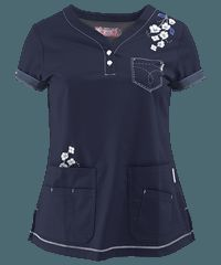 Koi Scrubs Limited Edition Happy Trails Y-Neck Print Top Cute Scrubs, Koi Scrubs, Scrubs Outfit, Scrubs Uniform, Scrub Shoes, Work Uniforms, Medical Scrubs, Costume, Work Attire