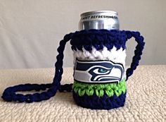 Seattle Seahawks can koozie by BOOMsteezBeanies on Etsy, $10.00