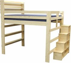 "Loft Bed with Stairs & Shelves for youth, teen, college and adults.  The Steps & Shelves are 18"" wide and are either 44"" or 55"" high.  Lots of storage and easy to climb up steps.  Available in twin, twin-XL, full, queen and king sizes.  Desks and shelving available."