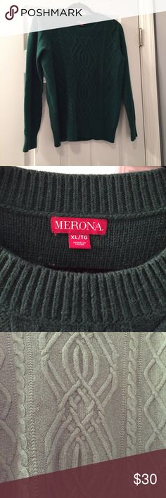 Merona Green Heavy Sweater Worn a handful of times but in excellent condition. No flaws. Super heavy and warm. Can be used as an oversized sweater. The color is depicted best in the first picture. Size XL. Note the mix of material used in last picture. I also have a gray one posted. Bundle and save! Merona Sweaters Crew & Scoop Necks