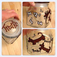 Hand painted dog treat jar