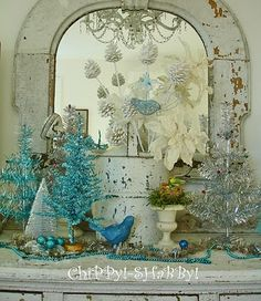 white, teal silver vintage Christmas decor