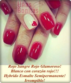 Rojo Sangre Rojo Glamoroso! Blanco con corazón rojo!!! Hybrido Esmalte Semipermanente! Irrompible!