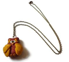 Big owl necklace  Polymer clay owl necklace  Polymer by despinART, €17.00