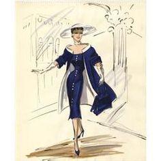 Edith Head costume sketch of Jane Wyman for  Lucy Gallant  (blue dress)