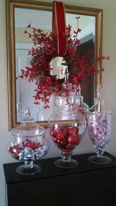 Holiday decor using large apothecary jars. Christmas Vases, Silver Christmas Decorations, Christmas Arrangements, Holiday Centerpieces, Christmas Projects, Christmas Home, Christmas Holidays, Holiday Decor, Apothecary Decor