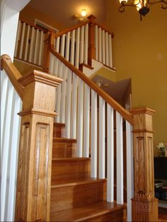 {Staircase Railing Inspiration} Going to reno the staircase to look similar to this! All oak..or white & oak like this one is the question?!