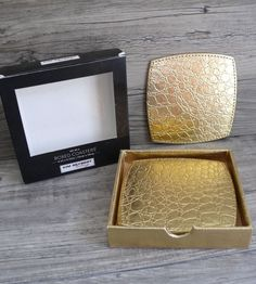 Kim Seybert Gold Tone Crocodile Texture Coasters Set of Four & Matching $28.99