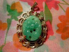 Vintage Goldtone Filgree Jadite Green Pendant ( Mothers Day)