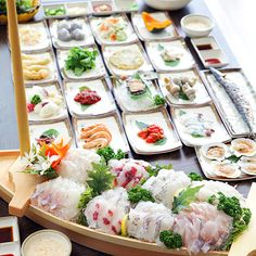 The endless banchan that comes with ordering sashimi in Korea! Yum!