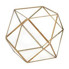 Multiple Facet Glass Terrarium, Gold Trim