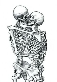 skeletons in love - Bing Images Skeleton Drawings, Skeleton Tattoos, Skeleton Art, Art Drawings, Skeleton Couple Tattoo, Kissing Drawing, Tattoos For Lovers, Pin Up Tattoos, Skull And Bones