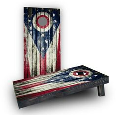 Custom Cornhole Boards Wooden Distressed State Flag Cornhole Bag Fill: Heavier Boards with Corn Filled Bags/Handles, State Flag: Ohio Wooden Firecrackers, Custom Cornhole Boards, Wood Slats, Flag Decor, Printed Bags, How To Distress Wood, Porch Decorating, Fill Light, Matching Colors