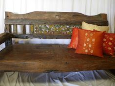 Balinese Recycled Timber Hand Carved Day Bed Bench Seat Lounge Rustic Distressed Furniture, Bed Bench, Outdoor Decor, Garden Patio Furniture, Home Furniture, Wooden Bench, Distressed Furniture, Home Diy, Bench