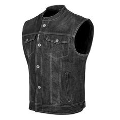 Speed and Strength Soul Shaker Denim Motorcycle Riding Vest - All Colors/Sizes Jeans West, Motorcycle Vest, Biker Gear, Black Denim Vest, Riding Jacket, Riding Gear, Leather Vest, Leather Wallet, Mens Fashion