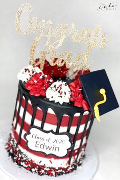 Red, white, and black simple graduation cake. Click the link below  to order your celebration cake today. #graduation #graduationparty #graduationcakes #cake #cakedesign #cakedecorating #cakedecoratingideas #cakedecoratingtips #buttercream #buttercreamcake #buttercreamfrosting #simple #simplicity Cakes Today, Graduation Cake, Desserts To Make, Cake Decorating Tips, Buttercream Frosting, Celebration Cakes, First Birthdays, Birthday Cake, Make It Yourself