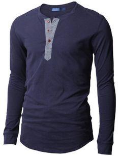 Doublju Mens Casual Long Sleeve Henley Shirts BLACK M (DU15_KMT05)
