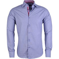 Stone Rose Soft Blue Square Dot Button Down Shirt (386467501) ($155) ❤ liked on Polyvore featuring men's fashion, men's clothing, men's shirts, men's casual shirts, soft blue, mens blue leopard print shirt, mens collared shirts, mens patterned shirts, mens casual button up shirts and mens french cuff shirts