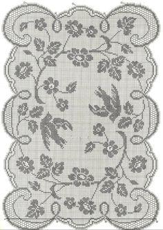Kira scheme crochet: Scheme crochet no. Crochet Birds, Crochet Motif, Crochet Shawl, Crochet Doilies, Crochet Lace, Crochet Patterns, Filet Crochet Charts, Crochet Tablecloth, Hand Embroidery Designs
