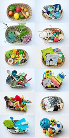 12 Sensory Baskets For Baby by Pastels & Macarons. Allow baby to explore with these fun filled baskets. Nanny | Babysitter | Au Pair | Parenting - www.nannyprintables.com
