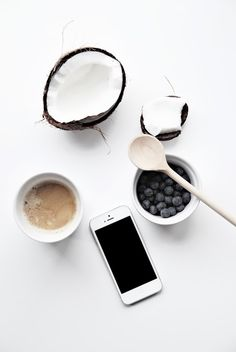 Coconut, coffee, blueberries, iphone, spoon