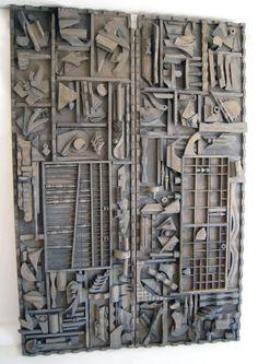 Louise Nevelson Assemblage --Monumental Pair of Wall Sculptures Louise Nevelson Louise Nevelson, Art Sculpture, Wall Sculptures, Motif Art Deco, Cardboard Art, Cardboard Relief, Assemblage Art, Recycled Art, Teaching Art