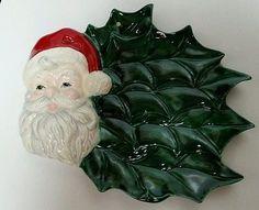 Christmas Tray Platter Santa Hand Painted Ceramic Decor Wall or Door Hanging