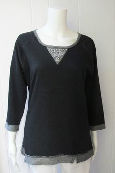Sparkle Sweatshirt | Take your casual look up a notch with a little bling.  Black with gray trim.  Slimming front darts.  ¾ sleeve.  85% Cotton/15% Polyester.  Sizes S-XL. | Willy & Babbish Boutique | New Baltimore, MI