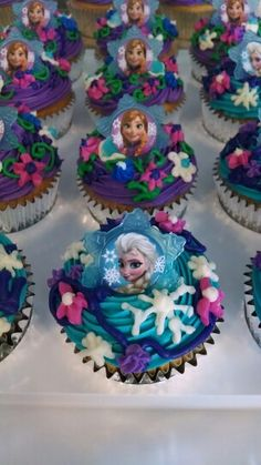 Disney frozen cupcakes I made for daughters class