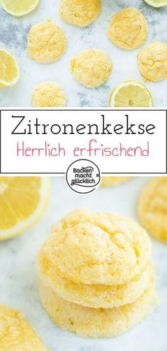 Diese Zitronenkekse sind herrlich weich und erfrischend. Lemon Cookies mit Frischkäse sind eine tolle Alternative zu normalen Keksen. Die saftigen Zitronenkekse schmecken definitiv das ganze Jahr über! #lemoncookies #zitronenkekse #cookies #sommer #backenmachtglücklich