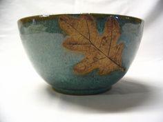 Wheel Thrown Pottery   Wheel Thrown Stoneware Pottery Serving Mixing Bowl with Oak Leaf ...