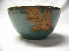 Wheel Thrown Pottery | Wheel Thrown Stoneware Pottery Serving Mixing Bowl with Oak Leaf ...