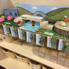 EYFS block play - the three billy goats gruff - can you build a bridge?