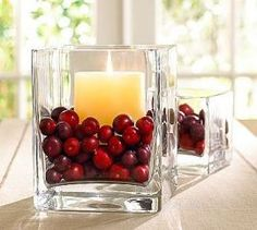 Cranberries and candles. Could also use beach glass, agates, glass beads, nuts, pretty rocks, bird seed?,
