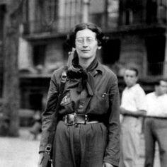 Simone Weil como soldado durante la Guerra Civil Española en 1936.
