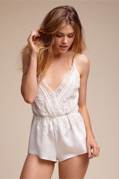 for the fashion-forward romantic | Genevieve Romper from BHLDN - lingerie, blue, latex, cheap, blue, baby doll lingerie *ad