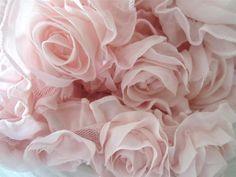 Chiffon Shabby Flower Lace Trim 10 Pink Roses + Pink Ruffle