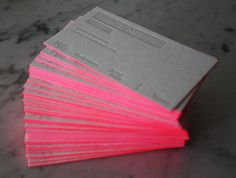 Neon business cards.