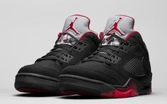 66af9e9f3895 Official detailed images of the Air Jordan 5 Retro Low Alternate colorway ( Black Gym Red-Black-Metallic Hematite)