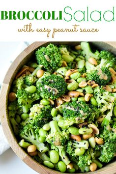 Broccoli Edamame Salad with Peanut Sauce via @theforkedspoon #broccoli #edamame #salad #broccolisalad #peanutsauce #easyrecipe #healthysalad #peanuts #dairyfree #vegetables | For this recipe and more visit, https://theforkedspoon.com/