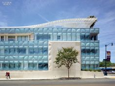 The interlayer of each 4-by-8-foot glass panel is patterned resin film. Photography by Bruce Damonte.